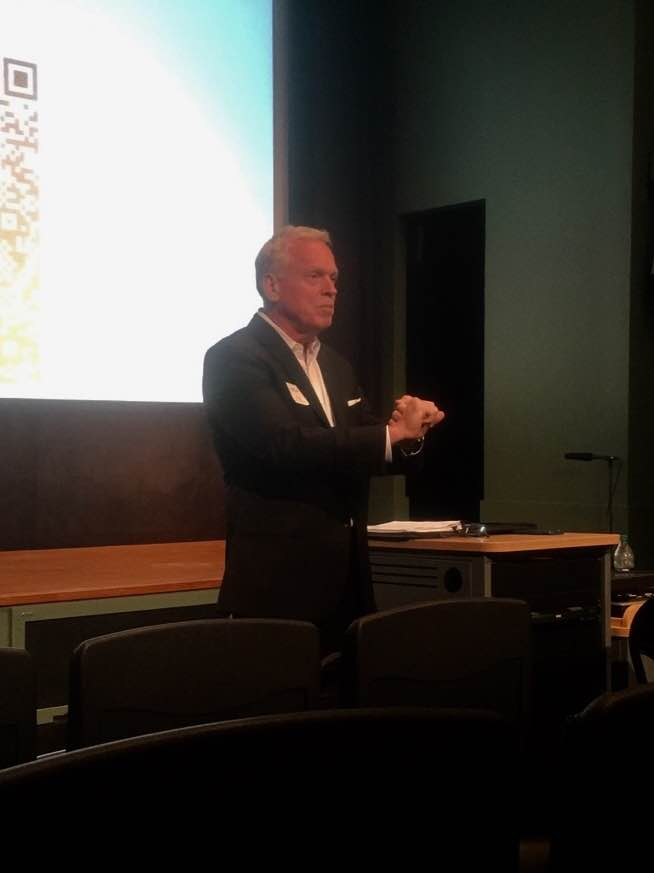 John A. Wright, CPCU (CEO of Johnson Kendall Johnson, Inc.) presenting at a WIPFLi 's LLP, CPAs and Consultants Client Appreciation event at the Philadelphia Eagles' Nova Care Center on June 8, 2017.